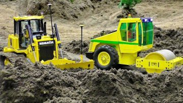 RC CONSTRUCTION SITE WITH POWERFUL EXCAVATOR ROLLER AND DOZER IN SCALE 1:14 LA MUNCĂ GREA