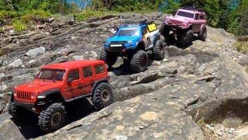 AVENTURAS RC – MOE SAVES THE DAY!  3 TRUCKS go TRAILING as a FAMILY in the CANADIAN iLD OUTBACK