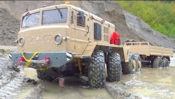 RC TRAILER RESCUE! HEAVY RC VEHICLES WORK IN MUD! RC WORK IN RAIN! VOLVO LOADER! Maz 537 Rc