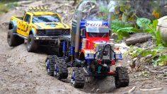 6x6x6 OPTIMUS Tracked SEMI Truck Rescues Bumble BEE-ST | RC AVENTURES