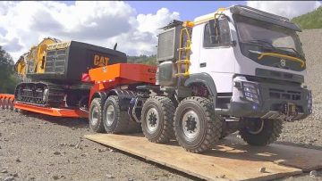 HEAVY CATERPILLAR 374F HAULAGE! VOLVO FMX 8X8 TONNAGE TRUCK! REAL RC CONSTRUCTION SITE