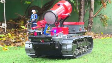 RC FIRE TANK! LARGE AIR TURBINE! AIR-ASSISTED FIRE VEHICLE! BEST RC REAL FIRE FIGHTING TANK
