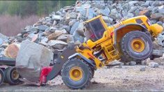 HEAVY STONE BLOCKS LOAD FROM THE STONE MINE! STRONG SCANIA 6X6 AGRAR TRUCK