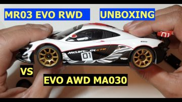 Garage RC presents …..EVO mr03 RWD REVIEW VS EVO AWD ma030 unboxing and track test part 1