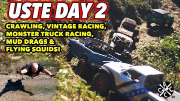 USTE 2021 Day 2 – Crawling, Vintage RC Racing, Monster Truck Racing, Mud Drags, & Flying Squids!!!