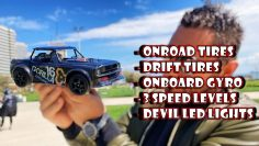 Low Cost RC Car with Onboard Gyro, Devil Led Lights, 3 Speed Levels and Extra Drift Tires